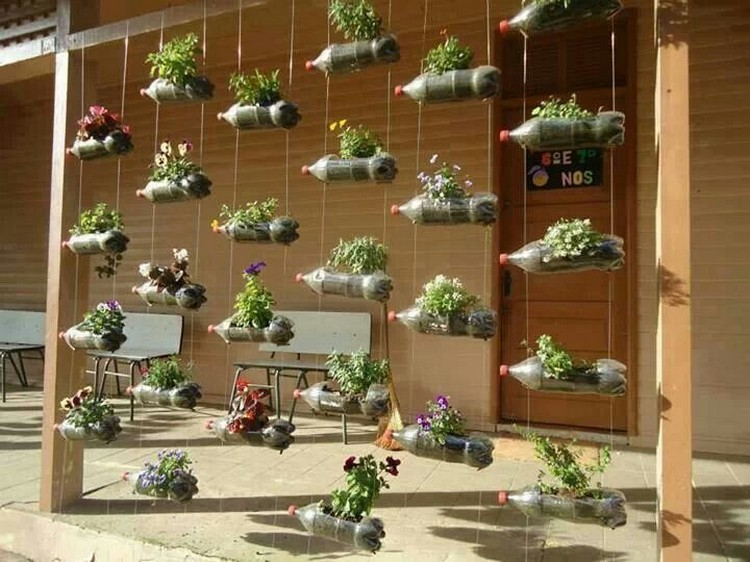 Recycled Plastic Bottles Vertical Garden