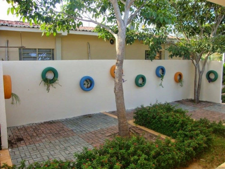 Recycled Tires Garden Wall Decor