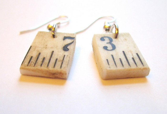 Upcycled Ruler Earrings