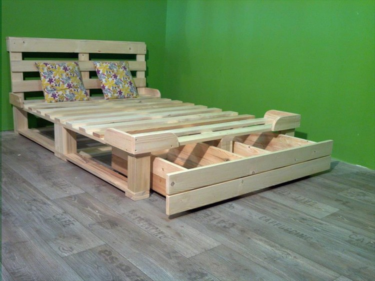 pallet bed with storage plans recycled things. Black Bedroom Furniture Sets. Home Design Ideas
