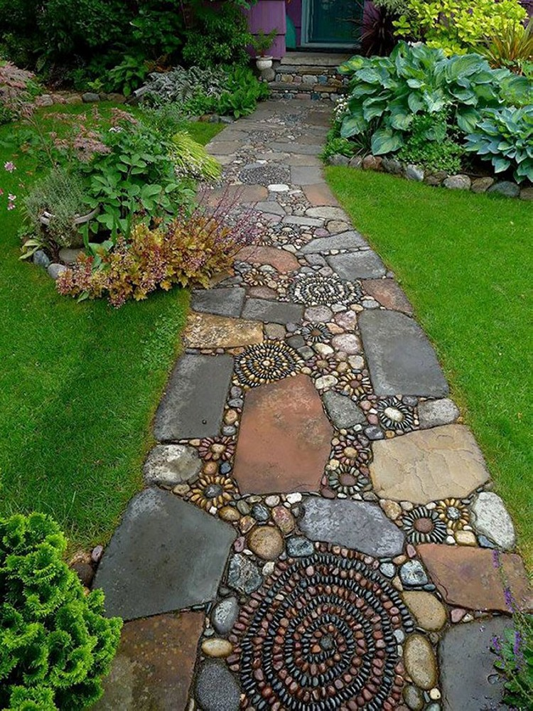 Garden path walkway ideas recycled things for Rock stepping stones landscaping