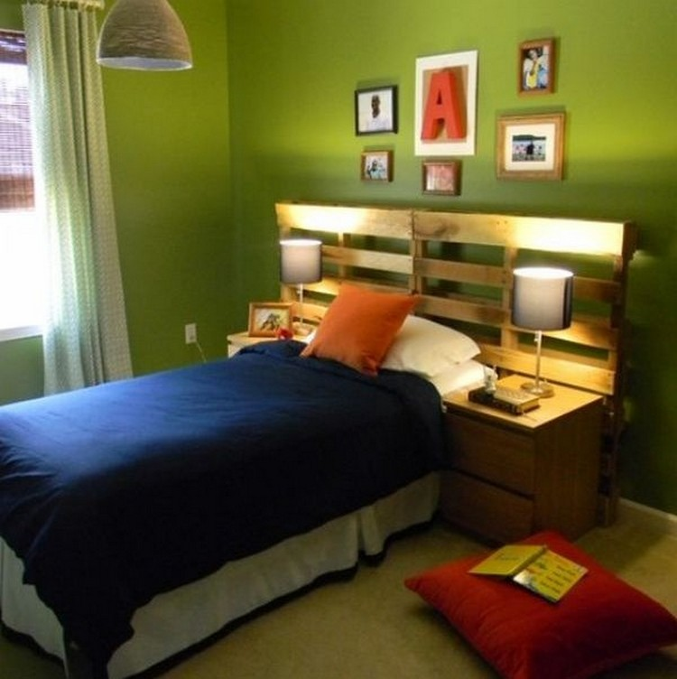 Pallet Headboard with Shelves | Recycled Things