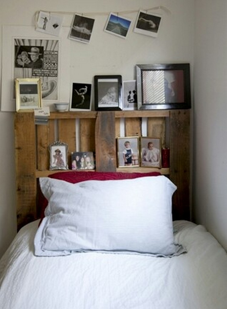 Pallet headboard with shelves recycled things Headboard with pictures