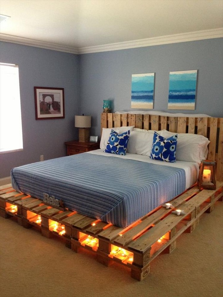 Pallet Wood Bed with Lights
