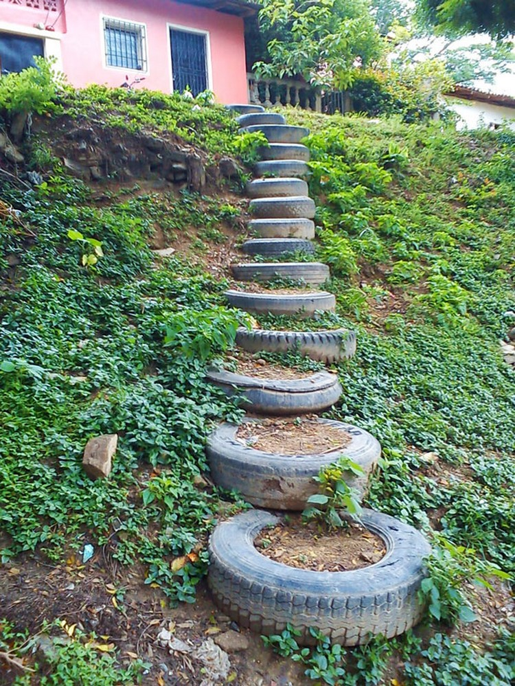 Tire Garden Stairs