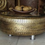 Upcycled Golden Tire Coffee Table