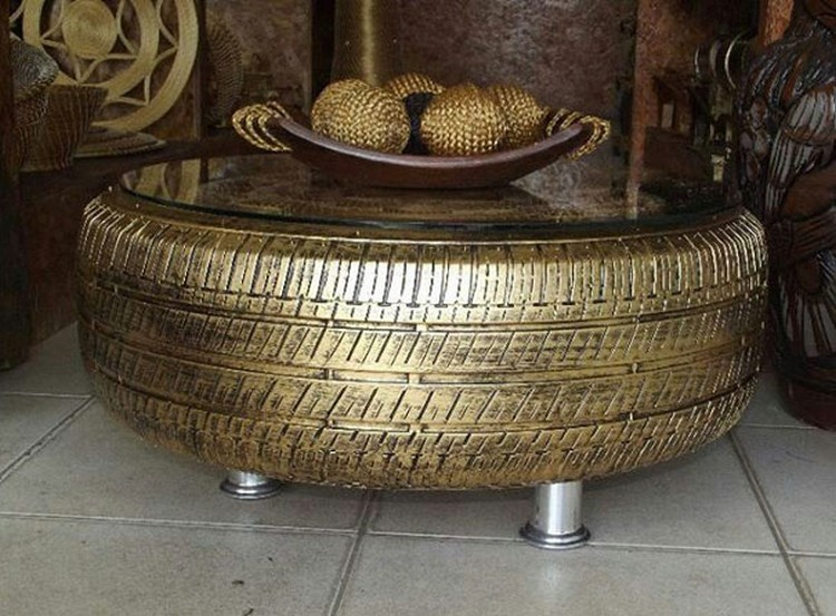... Upcycled Golden Tire Coffee Table ...