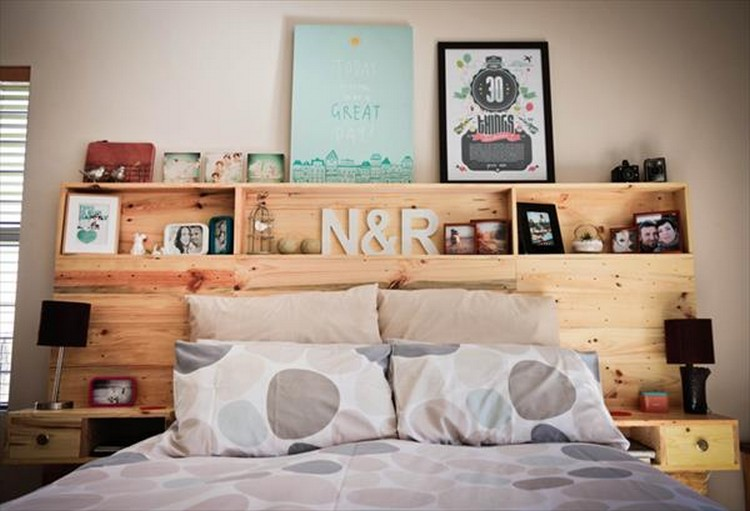 Headboard Shelf pallet headboard with shelves | recycled things