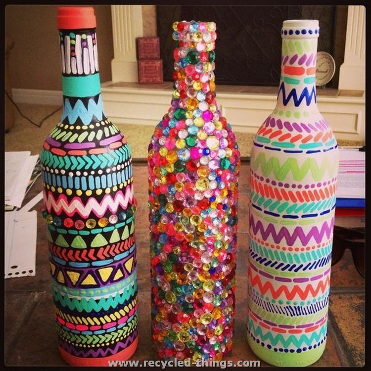 Cool and easy home decor ideas recycled things - How to decorate old bottles ...