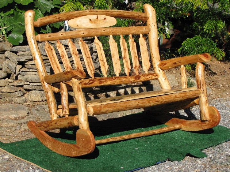 Good ... Furniture Plans Log Patio Bench ...
