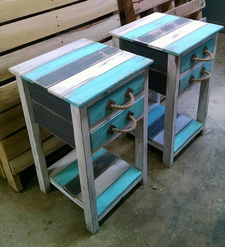 ... Pallet End Tables With Drawers ...