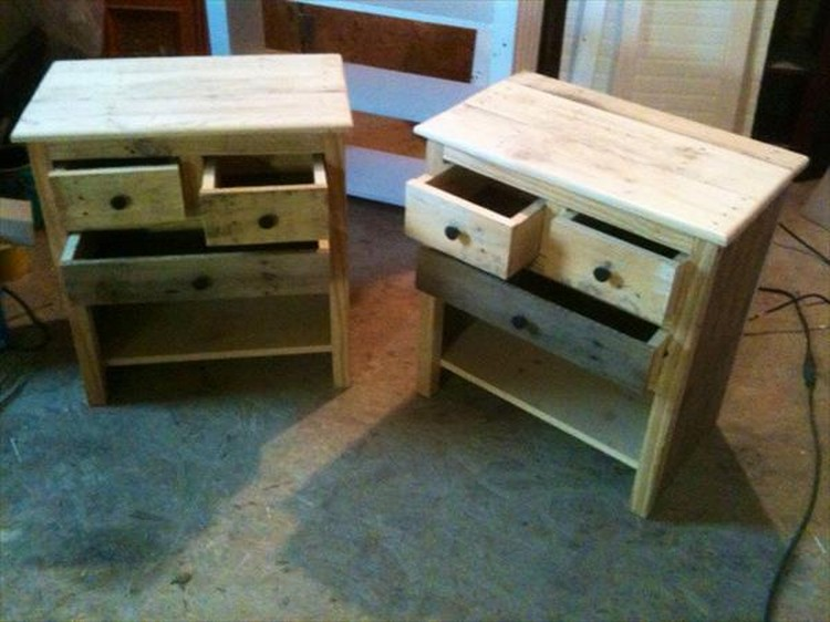 Pallet Nightstands with Drawers
