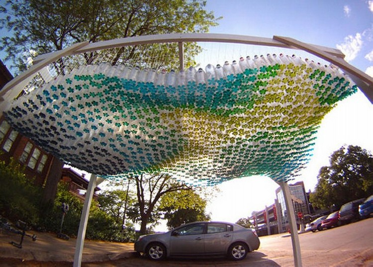 Recycled Bottles Car Port Roof