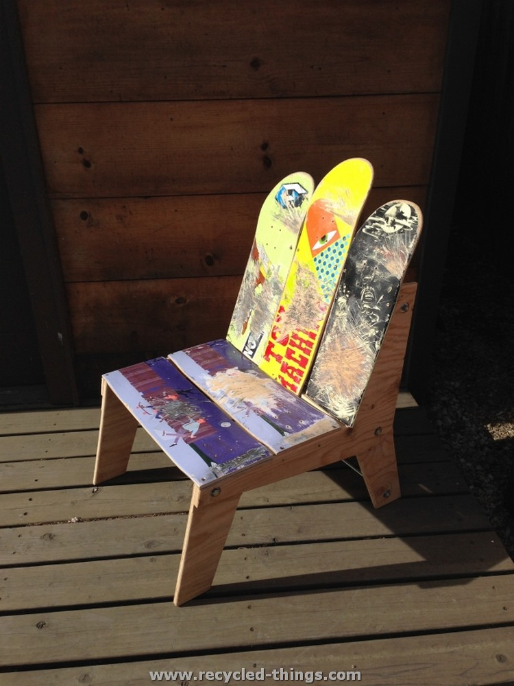 Recycled snowboard ideas recycled things for Recycled chair ideas