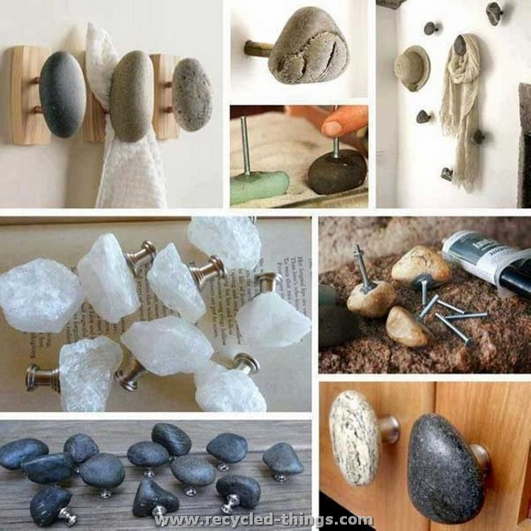 Ideas for home decorating with stones recycled things for Home decorations made from recycled materials