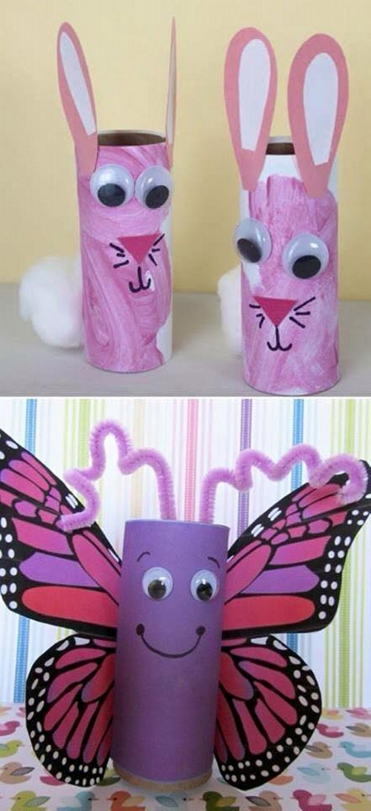 Toilet paper roll crafts for kids recycled things for Toilet paper art ideas