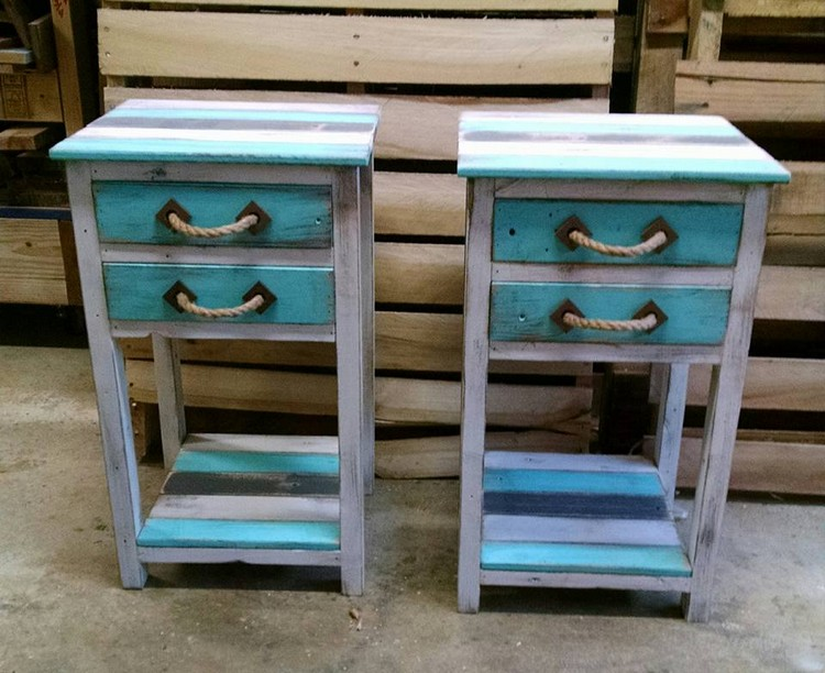 Wooden Pallet End Tables with Drawers