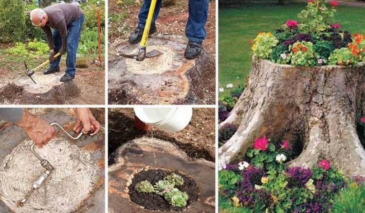 DIY Log Upcycled Planter