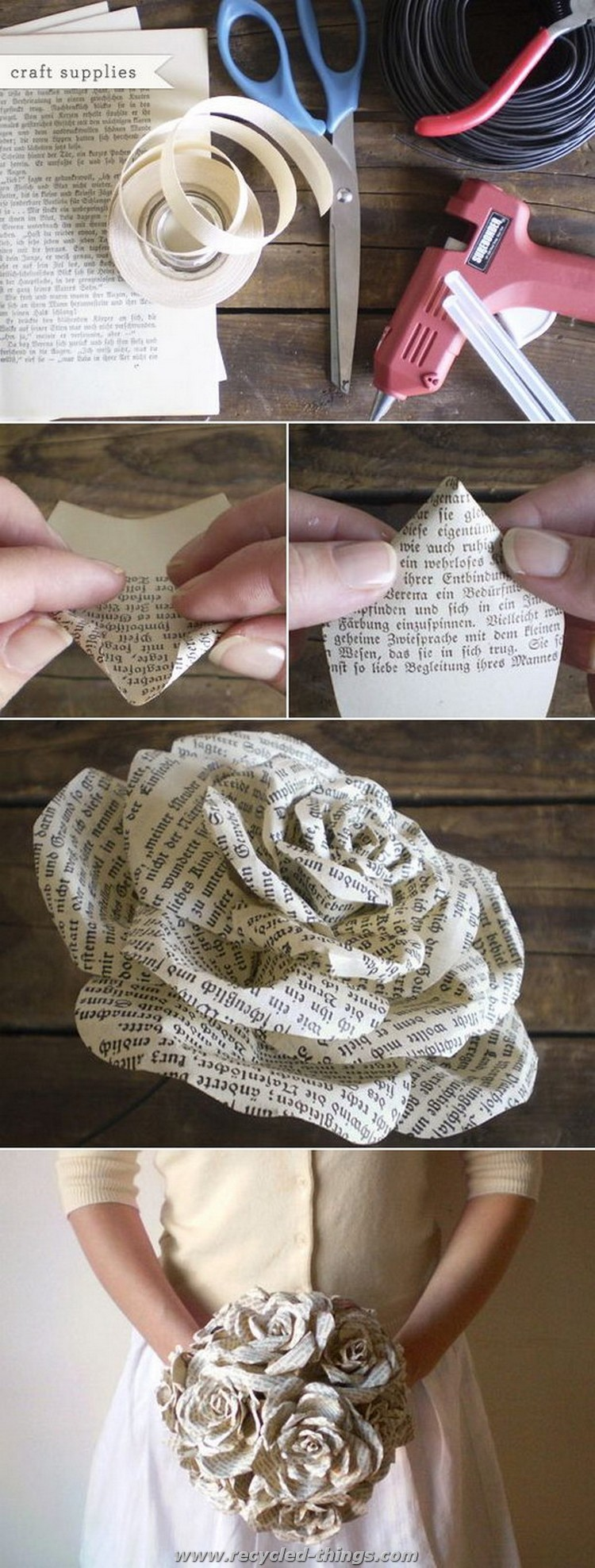 DIY Old Book Paper Flower