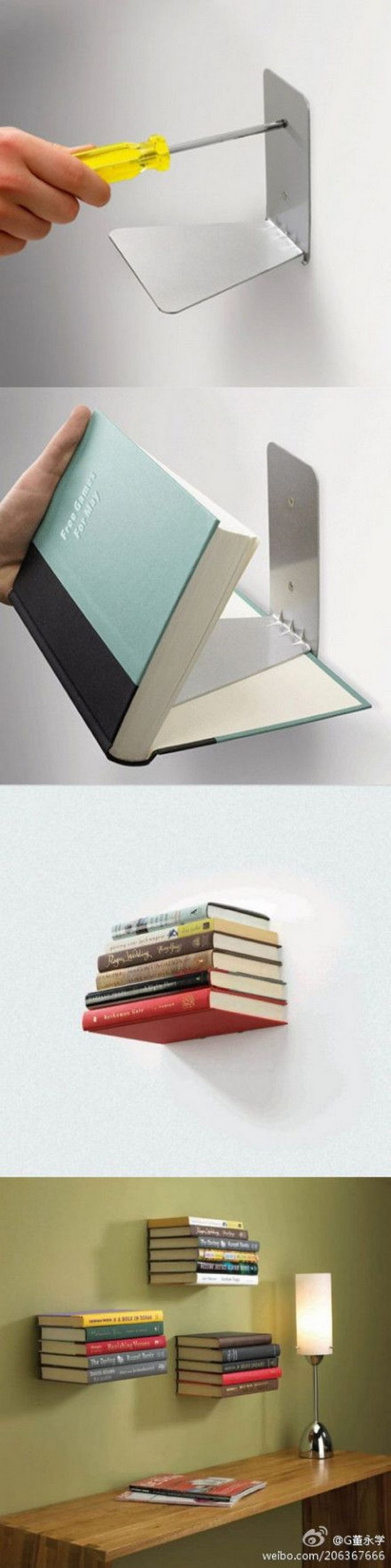 DIY Recycled Books Wall Shelves