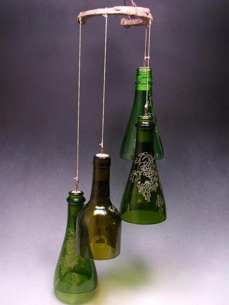 recycled wine bottle wind chimes recycled things