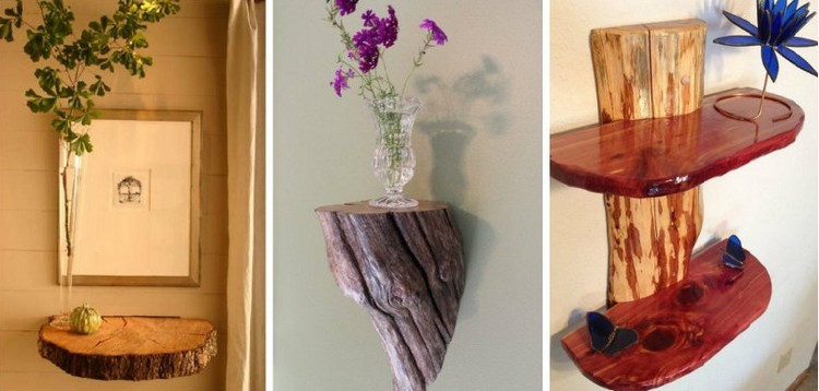 Rustic decor ideas using logs recycled things for Home made decoration pieces