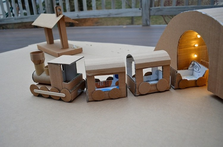 Kids Fun with Cardboard Train