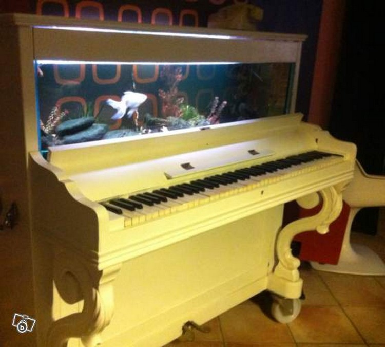 Old Piano Upcycled Aquarium