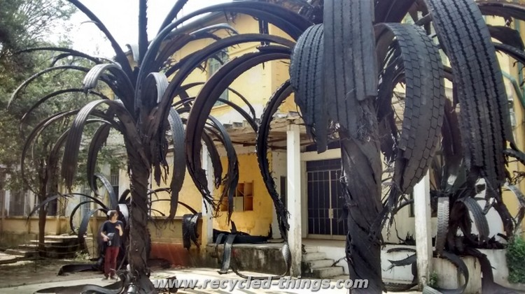 Palm Tree Made from Recycled Tires