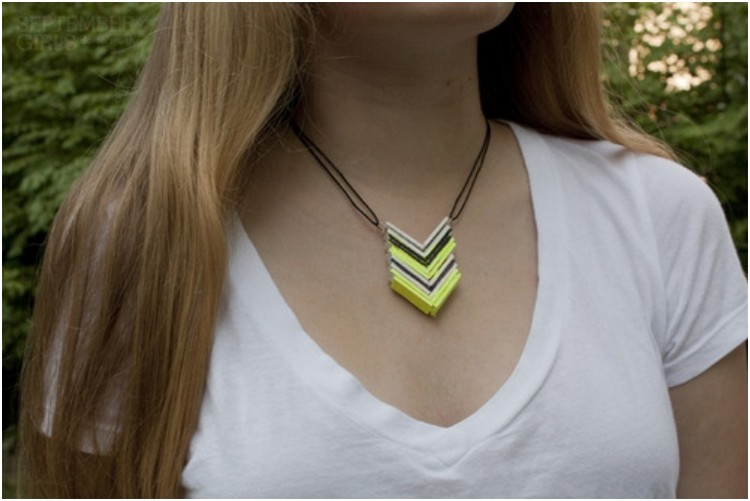 Popsicle Stick Chevron Necklace
