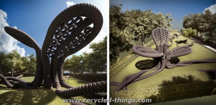 Recycled Tires Garden Art
