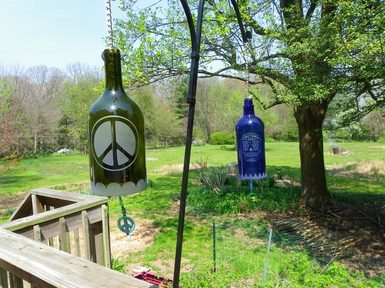 Recycled Wine Bottles Wind Chimes