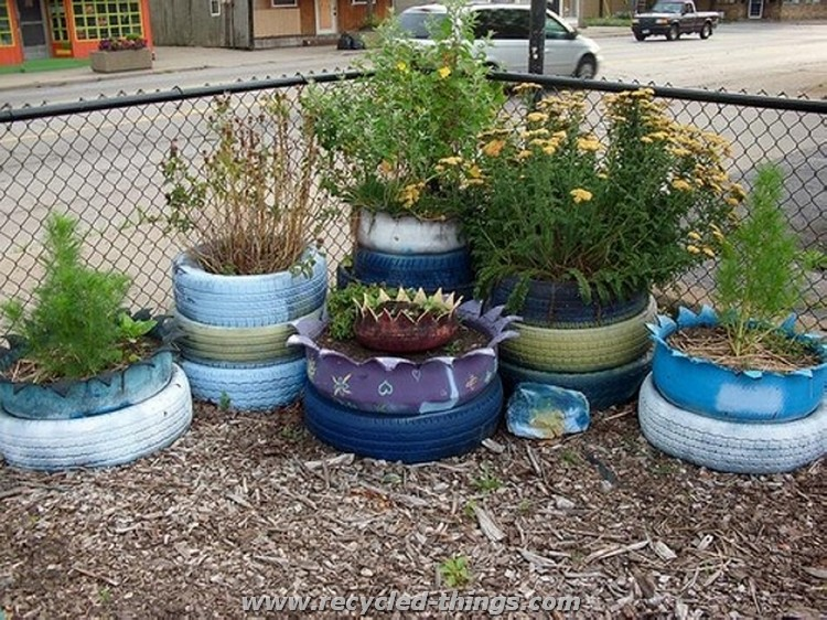 garden bird with recycled tires tire planters old tire ideas