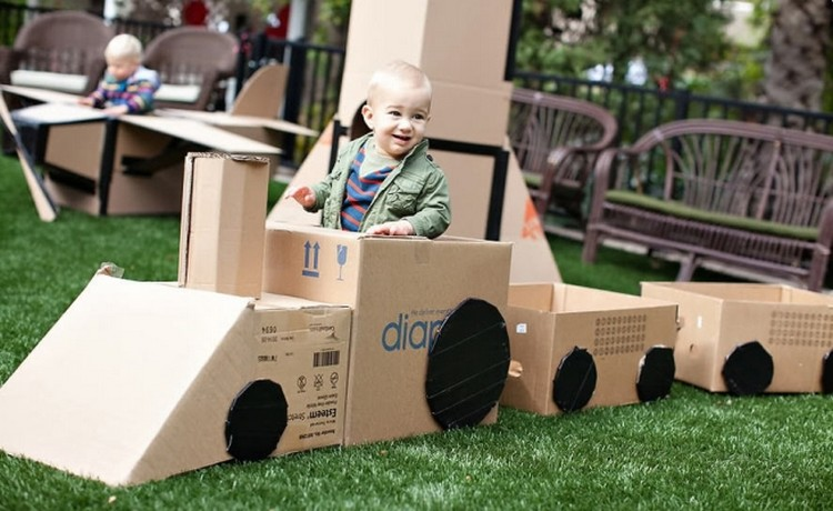 Upcycled Cardboard Train for Kids
