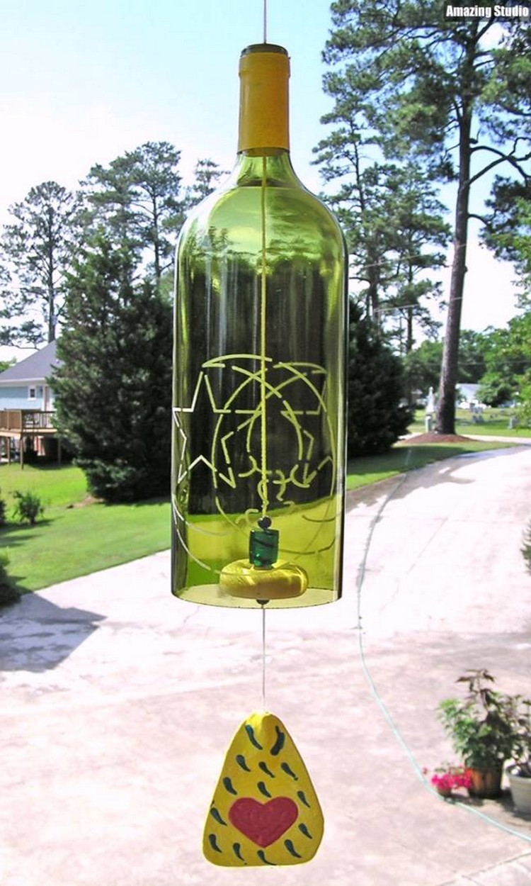 Recycled wine bottle wind chimes recycled things for Glass bottle wind chimes