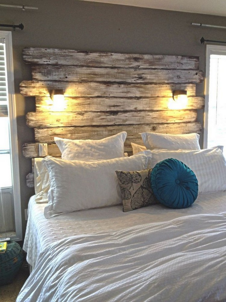 Recycled Pallet Headboard With Lights Recycled Things