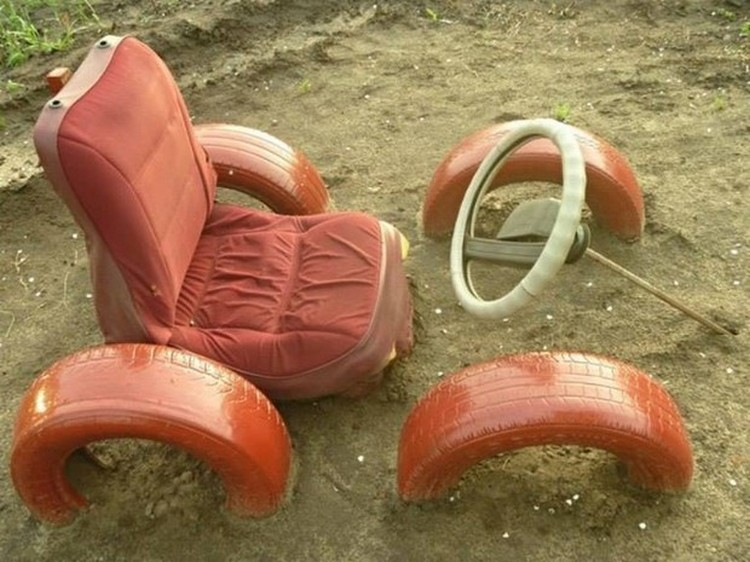 Kids Seating with Old Tires