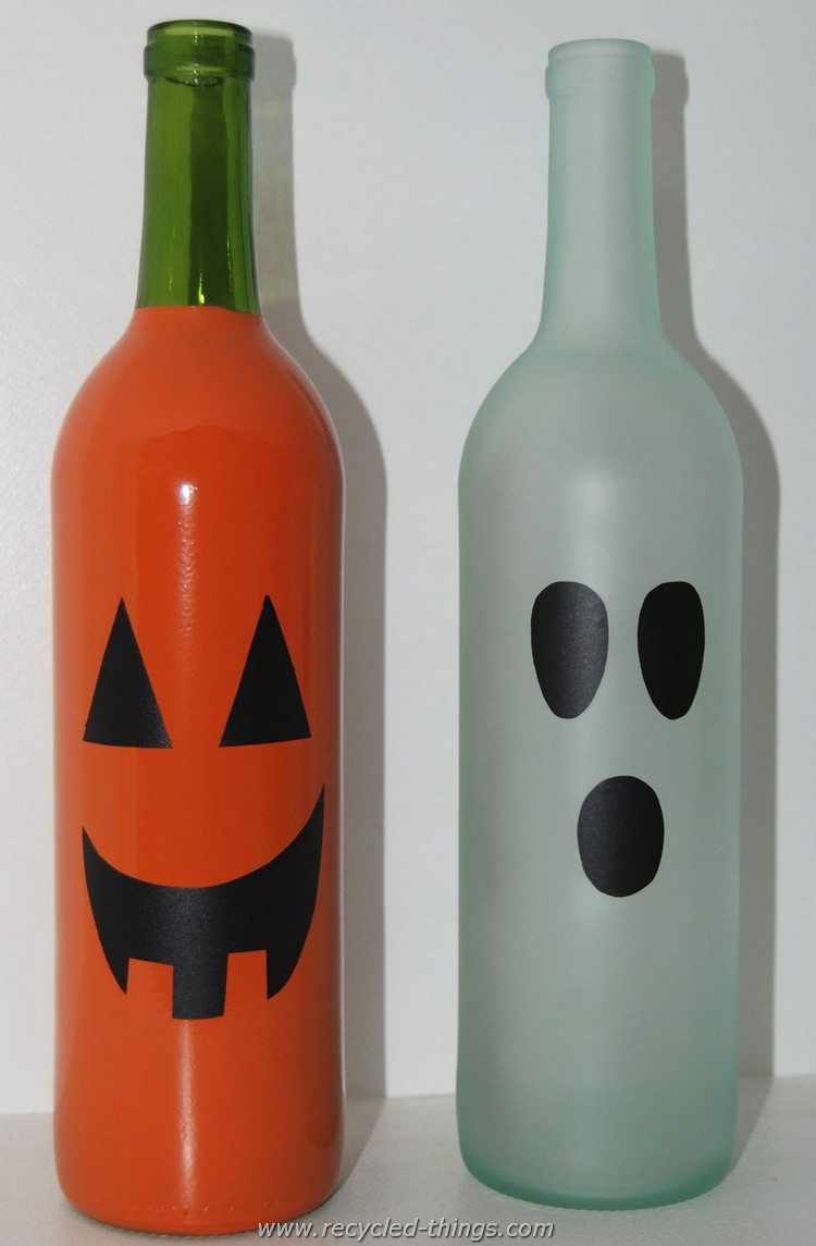 Painted Halloween Wine Bottle Recycled Decor