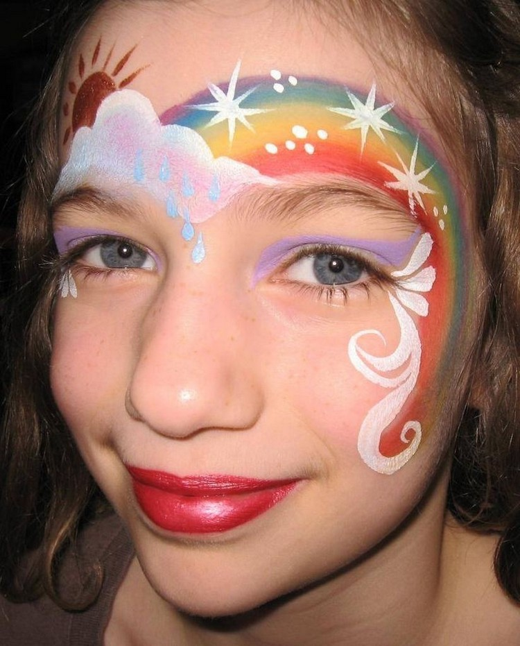 Sparkly Rainbows on Kids Face
