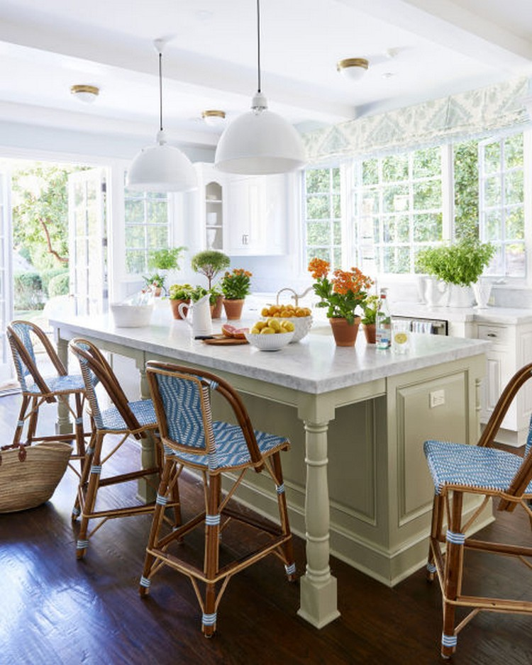 Blue and White Kitchen Island