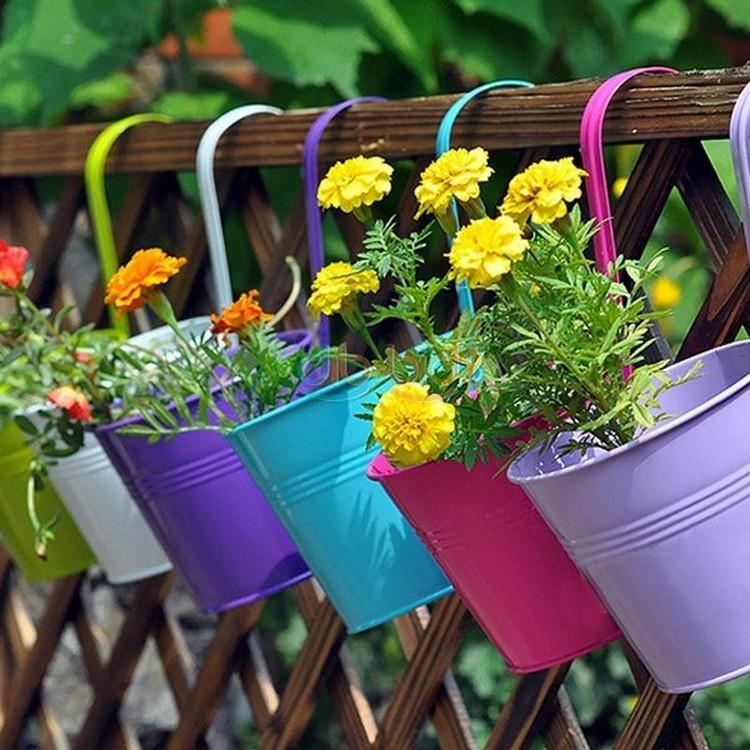 Colorful Flower Pots Garden Decor