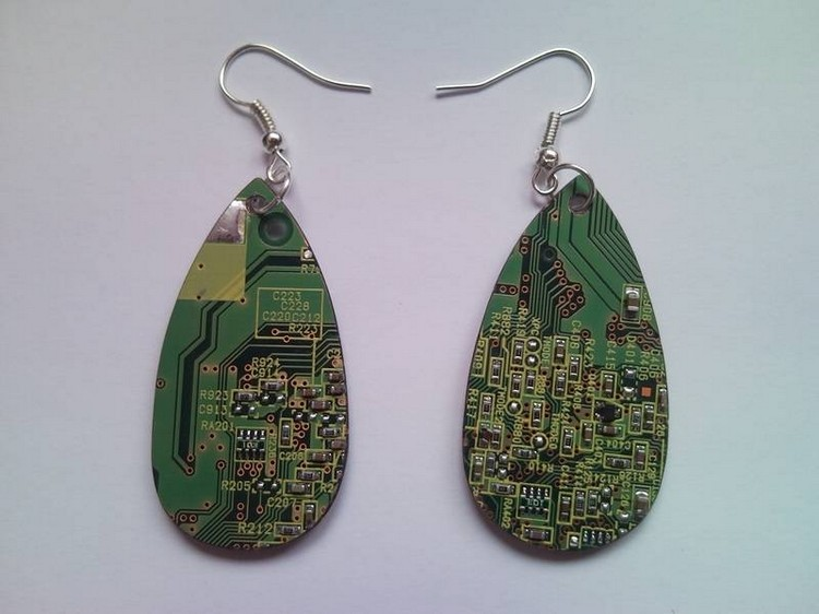 Electric Circuit Board Earrings