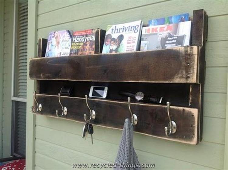 Pallet Bookshelf and Coat Rack