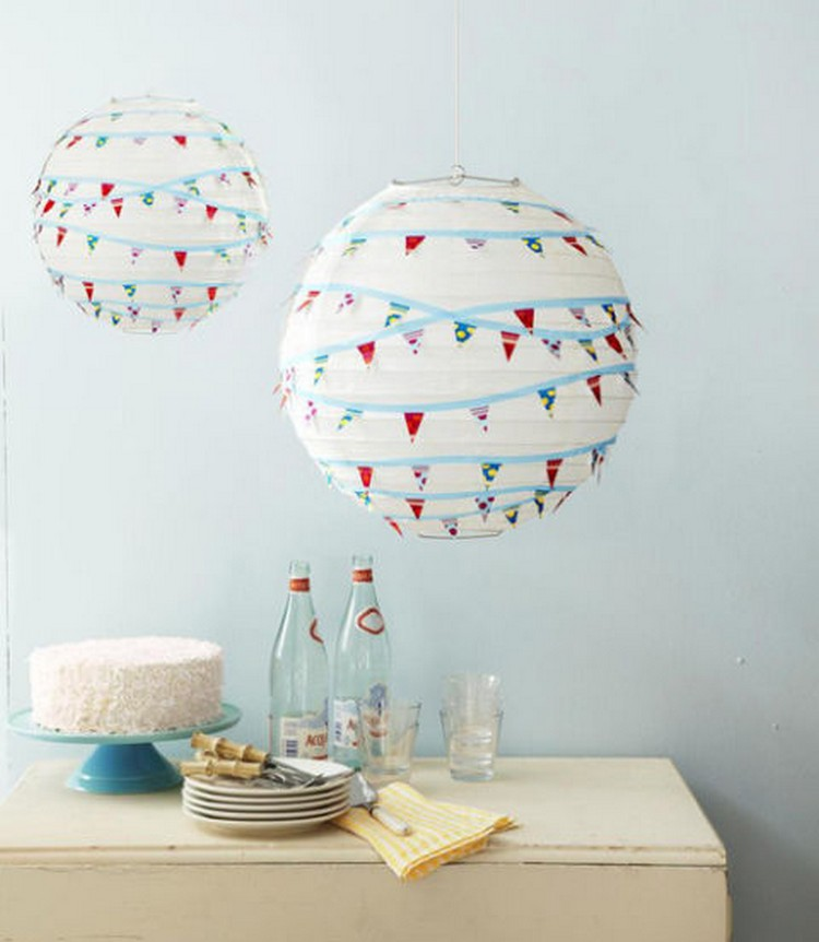 Washi Tape Pennant Lanterns