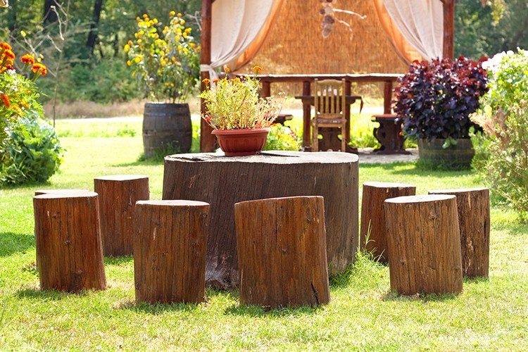 Garden Furniture with Tree Trunks