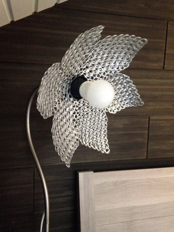 Lamp Shade Made from Sofa Tabs