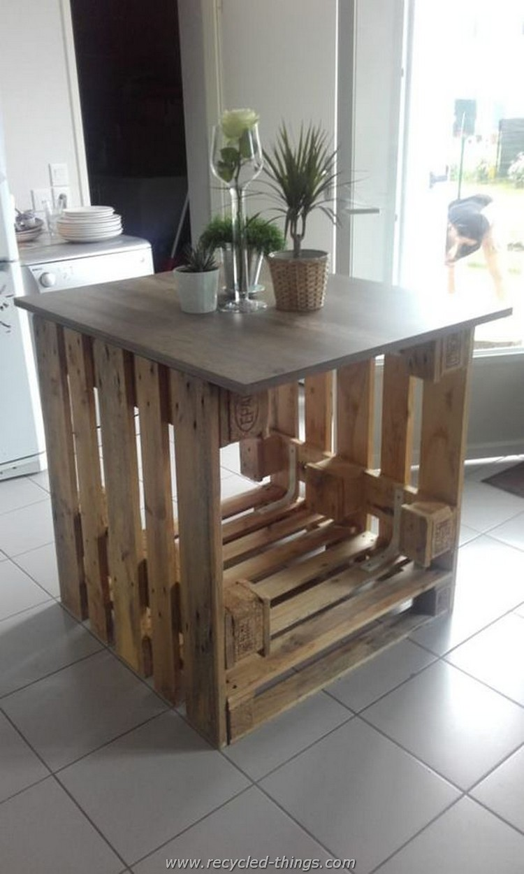 Wood pallet kitchen island book covers for Pallet kitchen ideas