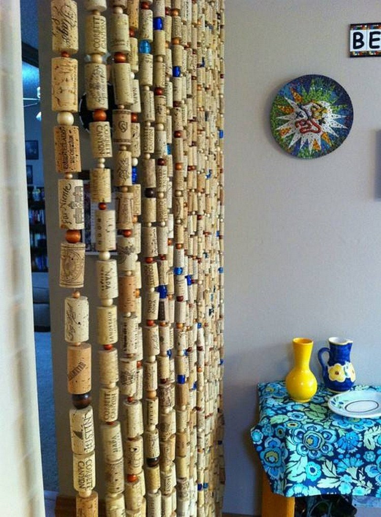 Curtains made with recycled wine corks recycled things for Wine cork crafts diy
