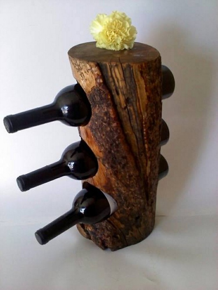 Recycled tree trunks recycled things for Arts and crafts wine rack