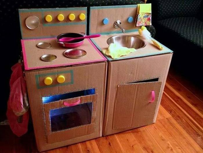 Cardboard Mud Kitchen for Kids